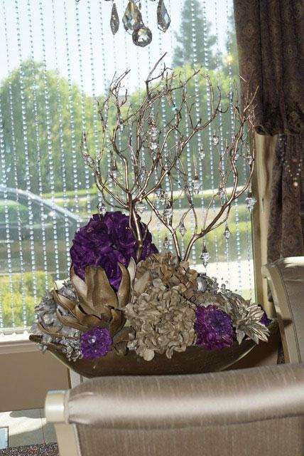 Vase Purple Flowers Crystals