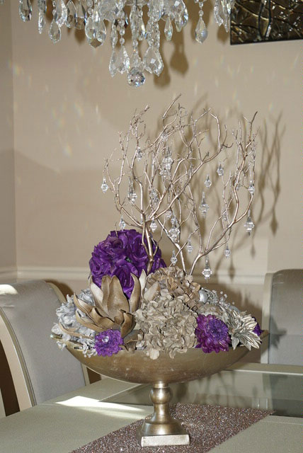 Vase Purple Flowers Crystals